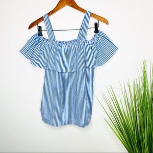J Crew Striped Cold Shoulder Ruffle Top